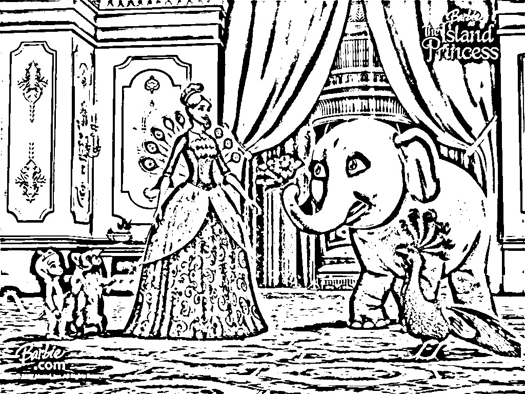 Barbie Princess Coloring Pages  Barbie The Pearl Princess